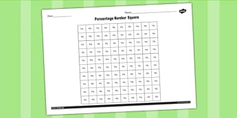 Percentage Number Square 1 Percent Worksheet - worksheet, percent