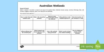 Australian Wetlands Research Project Sheet - Water in Australia, wetland, wetlands Australia, waterways, river, lake, swamp, billabong, dam,Austr