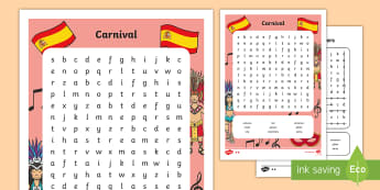 Carnival in Spain Differentiated Word Search - Carnaval España, cuaresma, decoración de la clase, decoración de carnaval, disfraz, disfrazar, ca