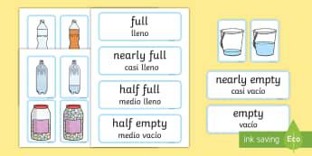 Capacity EYFS Matching Cards English/Spanish - Capacity Matching Cards EYFS - capacity, maths, numeracy, matching cards, match, cards, eyfs, capact