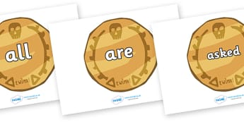 Tricky Words on Pirate Coins - Tricky words, DfES Letters and Sounds, Letters and sounds, display, words