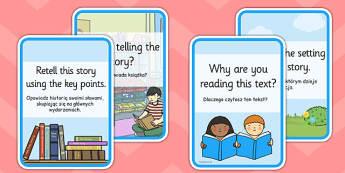 Reading Comprehension Cards Polish Translation - challenge, english, books, independent, guided, understanding, writing, infer, ks1, ks2, support, prompts