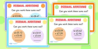 Decimals Additions Maths Challenge Cards - decimals, add, maths