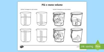 Più o meno volume Attività - volume, capacità, liquidi, materiale, scolastico, matematica, fisica, italiano, italian