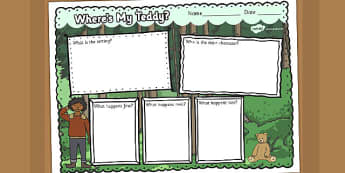 Ive Lost My Teddy Where Is It Book Review Writing Frame - wheres my teddy, book review, writing frame, book review writing frame, writing aid, writing template