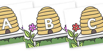 A-Z Alphabet on Beehives - A-Z, A4, display, Alphabet frieze, Display letters, Letter posters, A-Z letters, Alphabet flashcards