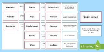 Electricity and Magnetism Pairs Glossary Activity - Glossary, electricity, magnetism, series circuit, amps, electrons