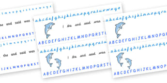 Alphabet Strips (Dolphins) - Alphabet, Learning letters, Writing aid, Writing Area, sea, seaside, dolphin, fish, octopus, sea, seaside, water, tide, fish, sea creatures, shark, whale, marine life, dolphin