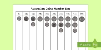 Australian Coins to 50c Number Line - Australian money, current, coins,Australia, money, counting, place value, dollars