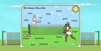 Wimbledon Themed Scene Word Mat - sports, pe, tennis, keywords