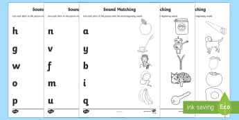 Alphabet Initial Sounds Matching Activity Sheets - EYLF, literacy, phonics, matching, sounds, letters, worksheets, Australia
