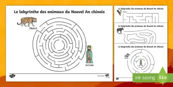 Feuilles d'activités : Le labyrinthe des animaux du Nouvel An chinois - Le Nouvel An Chinois, Chinese New Year, animals, animaux, maze, labyrinthe