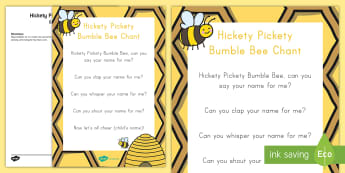 Hickety Pickety Bumble Bee  Group Activity - USA Back to School, USA Beginning of School, USA First Day of School, First Day of School group acti