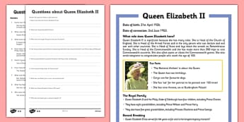 KS1 Queen Elizabeth II Differentiated Reading Comprehension Activity