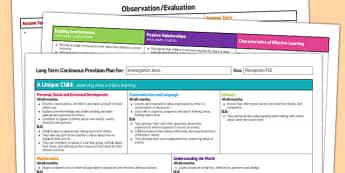 Investigation Area Editable Continuous Provision Plan Reception FS2