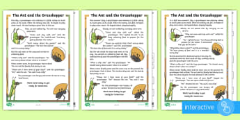 KS1 The Ant and the Grasshopper Differentiated Comprehension Go Respond Activity Sheets - Develop pleasure in reading, motivation to read, vocabulary and understanding, Understand what they