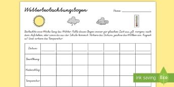 Wetterbeobachtung Arbeitsblatt - Frühling, Wetter, Jahreszeit, Bewölkung, Niederschlag, Temperatur, spring, weather, season, clouds