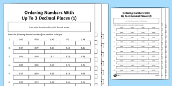 Ordering Numbers With Up To 3 Decimal Places Differentiated Activity Sheet Pack, worksheet