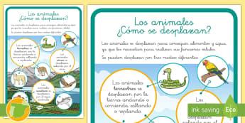 Hoja informativa: Los animales - ¿Cómo se desplazan? - tipos, animales, terrestre, acuático, aéreos, cómo se desplazan,Spanish