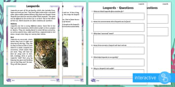 Year 2 Leopards Differentiated Comprehension Go Respond Activity Sheets - leopard, fur, spots, patches, rosette, yellow, black, teeth, tail, claws, balance, sharp, pointy, cl