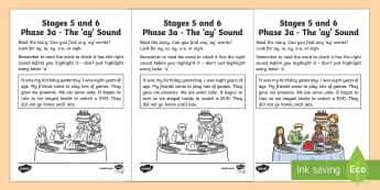 Northern Ireland Linguistic Phonics Stage 5 and 6 Phase 3a, 'ay' Sound Activity Sheet