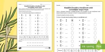 Fracții - Descifrează codul curiozităților despre Paște Fișă de lucru - fractii, fise de lucru, fise, Paștele, paști, paște, paste, materiale, fișe,Romanian