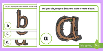 Alphabet Playdough Mats to Support Teaching on Stick Man - alphabet, a-z, fine motor skills