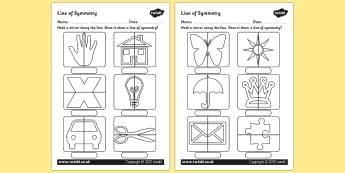 Line of Symmetry Worksheet - symmetry, lines of symmetry, symmetrical lines, symmetrical images, mirror symmetry, mirror activity, symmetry with mirrors activity, ks2