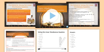 Solving Non-Linear Simultaneous Equations Lesson Pack - simultaneous equations, quadratic equations, algebra, substituting, substitution, substituion, simul