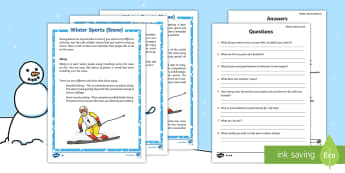 KS1 Winter Sports on Snow Differentiated Reading Comprehension Activity - Winter 2016/17, sports, athlete, compete, fun, competition, skiing, cross-country, speed skiing, fig