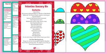 Valentine Themed Sensory Bin and Resource Pack - Valentine, hearts, love, sensory