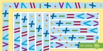 Mathematik Symbole Rahmen zum Ausdrucken für die Klassenraumgestaltung - Mathematik, Display, Mathematik, Mathe, German