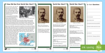 How Did The First World War Start? Differentiated Reading Comprehension Activity