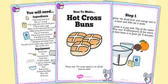 Hot Cross Bun Recipe Cards - hot cross bun, recipe, cards, bake