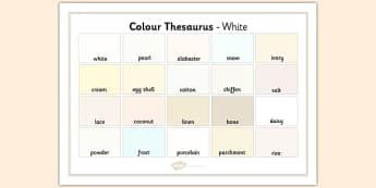 Colour Thesaurus Word Mat White - colour thesaurus, colour, thesaurus, word mat, word, mat, white
