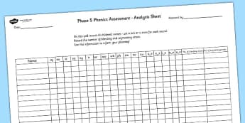 Phase 5 Phonics Letters and Sounds Analysis Sheet - phase 5, letters and sounds, DFE, phonics assessment, letters and sounds assessment, assessment sheet