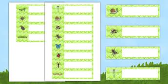 Minibeast Editable Gratnells Tray Labels - minibeasts, labels