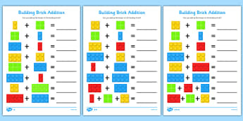 Building Brick Addition Activity Sheet -  worksheet, adding, numeracy