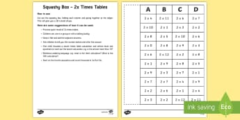 Squashy Boxes 2x Times Tables Craft - Mental Maths Warm Up + Revision - Northern Ireland, squashy boxes, two times tables, times tables, m