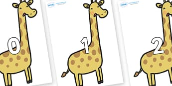 Numbers 0-100 on Giraffes - 0-100, foundation stage numeracy, Number recognition, Number flashcards, counting, number frieze, Display numbers, number posters