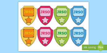 Junior Road Safety Officer Badges (JRSO) - road safety, junior road safety officer, JRSO, jrso, stickers, badges, classroom roles, monitors