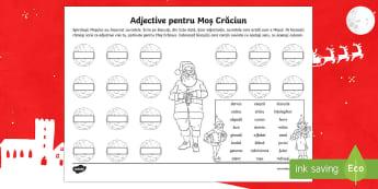 Adjective pentru Moș Crăciun Fișă de lucru - Christmas, Crăciun, Moș Crăciun, însușiri, adjective, gramatică, romanian, materiale,,Romanian