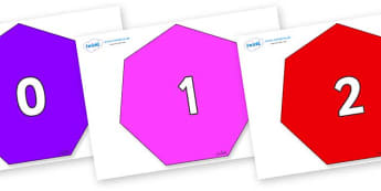 Numbers 0-100 on Heptagons - 0-100, foundation stage numeracy, Number recognition, Number flashcards, counting, number frieze, Display numbers, number posters