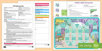 EYFS Ronald's Jungle Journey Adult Input Plan and Resource Pack - Ronald the Rhino, Twinkl storybook, games, activities, adult led, taking turns, psed, pshe, pse, sea
