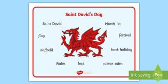 Saint David's Day Word Mat - Dewi Sant, St David's Day, baner, flag, nawddsant, patron, daffodil, cenin Pedr, leek, cennin,Welsh