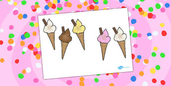 Five Big Ice Creams Counting Song Cut Outs - Ice, Cream, Song
