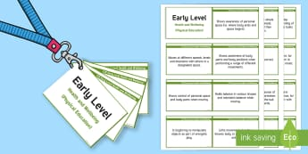 CfE Early Level Health and Wellbeing (Physical Education) Lanyard-Sized Benchmarks - CfE Benchmarks, tracking, assessing, progression, health and wellbeing, physical, HWB, Curriculum fo