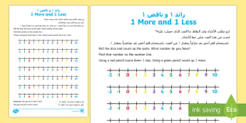 UAE EYFS One more One Less Activity Sheet Arabic/English - UAE EYFS Maths General, number, one more one less, more, less, worksheet, counting, EYFS, number ,-t