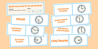L'heure Jeu de dominos - french, telling, time, dominoes, activity