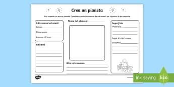 Crea un pianeta Attività - crea, un, pianeta, sistema, solare, geografia, scienze, spazio, italiano, italian, materiale, scolas